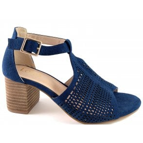 Kaylee Navy Microfibre Heeled Sandal