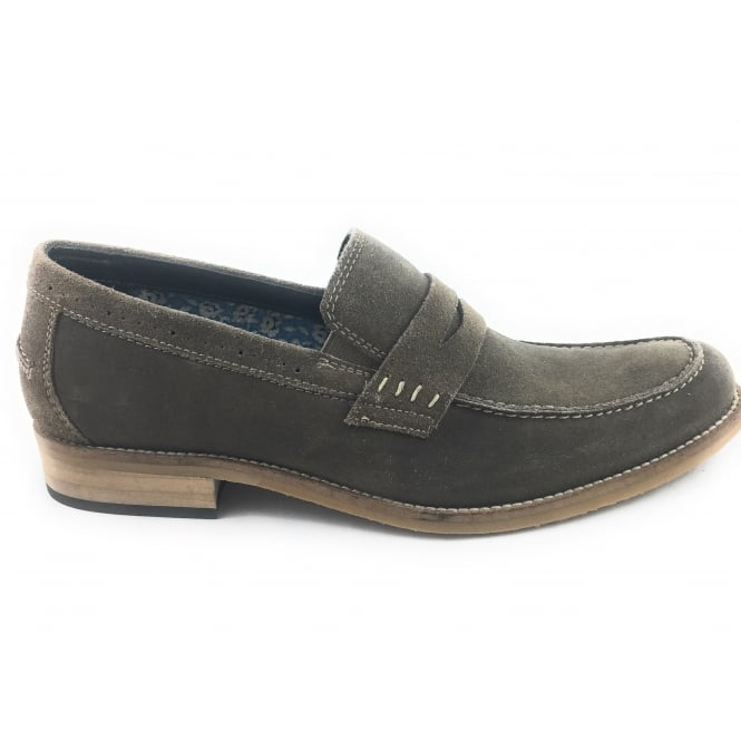 Lotus Keaton Olive Green Suede Penny Loafer