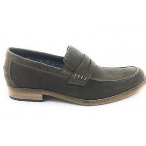 Keaton Olive Green Suede Penny Loafer
