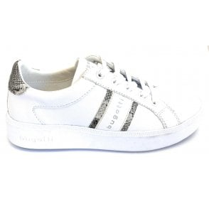 Kelli 431-4071B-5058 White and Reptile Print Trainers