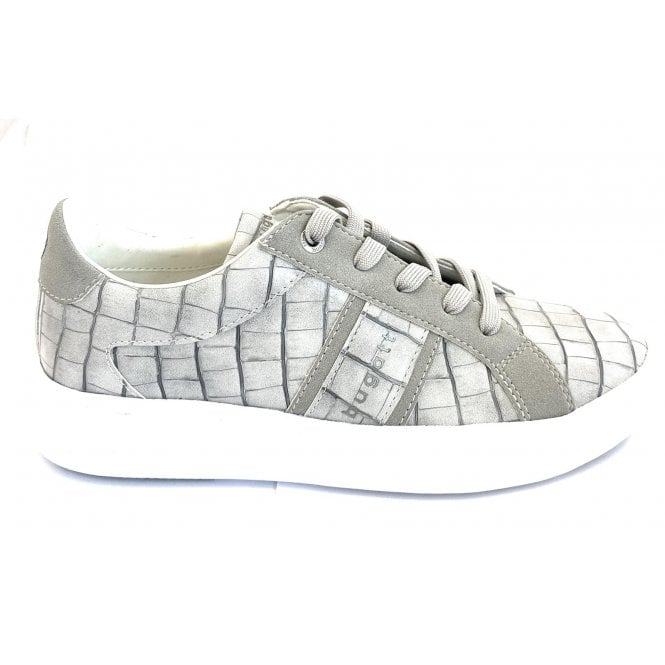 Bugatti Kelli 432-4071B-5855 Light Grey Reptile Print Trainers