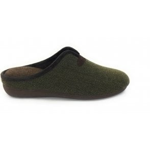 Khaki Albert Mens Mule Slippers