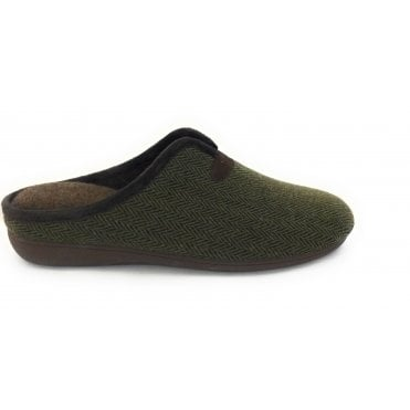 Khaki Albert Mens Mule Slippers