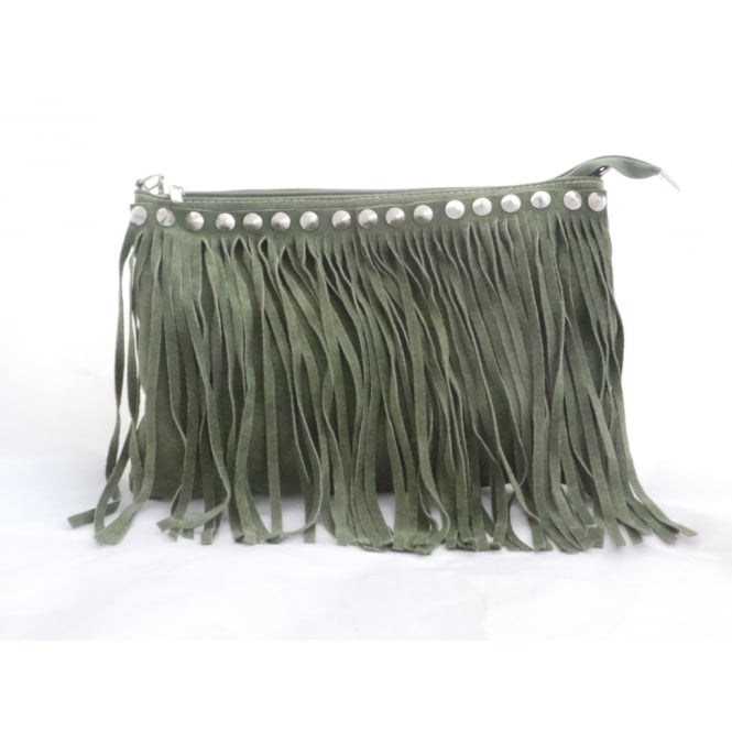Lotus Khaki Green Suede Fringe Shoulder Bag