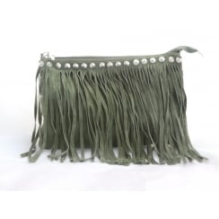 Khaki Green Suede Fringe Shoulder Bag