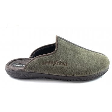 Khaki Mens Mule Slippers