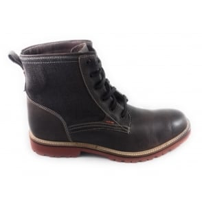 Kinley Brown Leather and Textile Lace-Up Boot