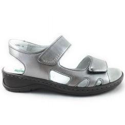Korfu-Ang 22-56564 Silver Open Toe Mule Sandal