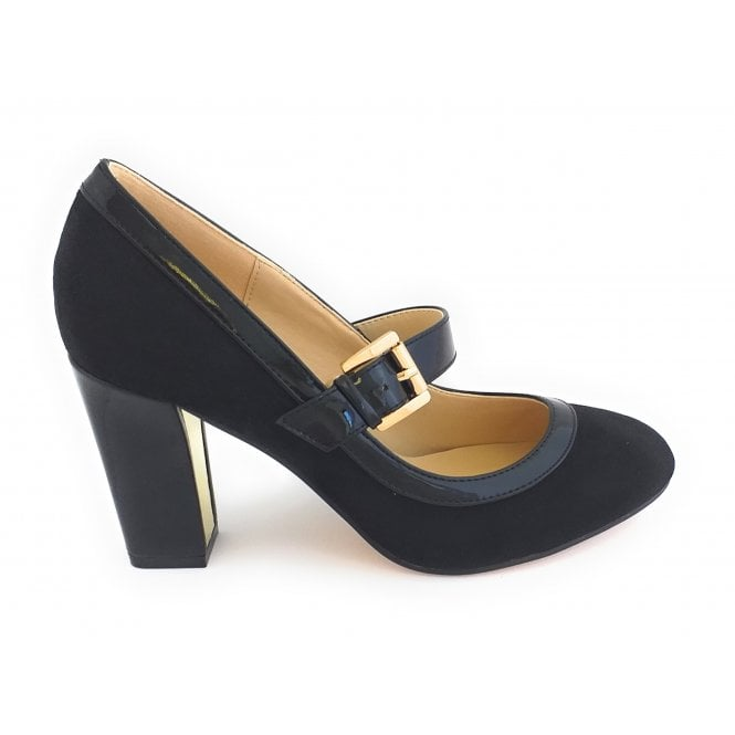 Lotus Lani Black Microfibre Court Shoe