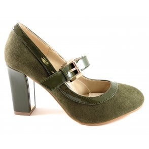 Lani Olive Green Microfibre Court Shoe