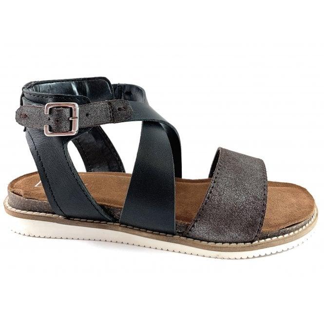 Lotus Lark Black Leather Sandal