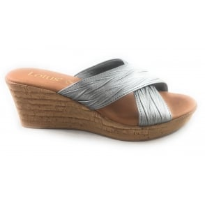 Latimer 20384 Pewter Leather Open Toe Mule Sandal