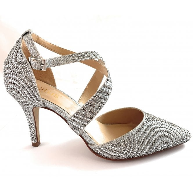 Lotus Latoya Silver Diamanté Court Shoe