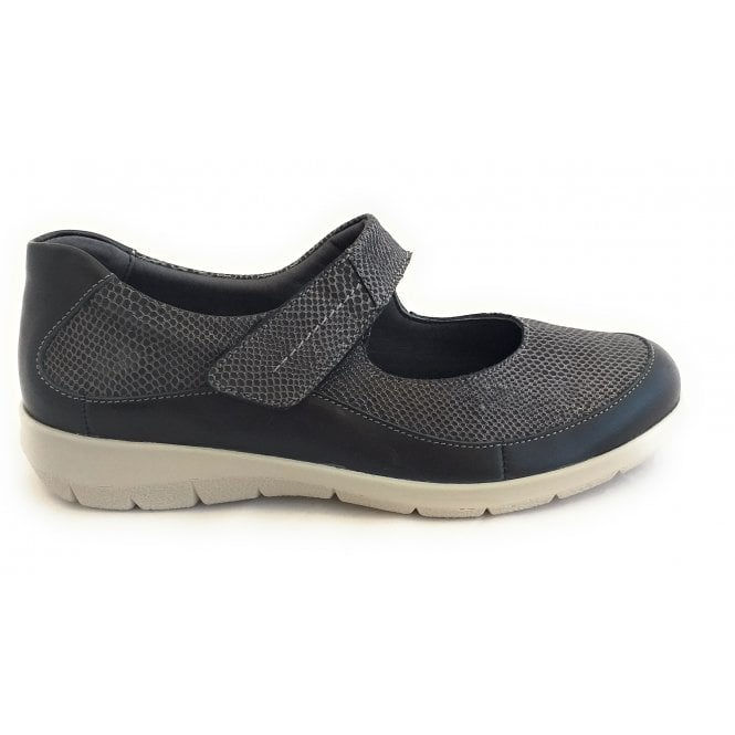 Suave Leah Black Leather Casual Shoes
