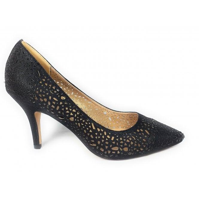 Lotus Lena Black Shimmer Court Shoes