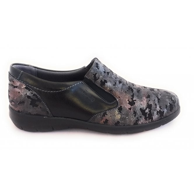 Suave Leona Black Leather Print Casual Slip On Shoes