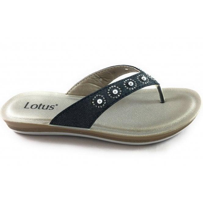 Lotus Lexi Black Toe-Post Sandal