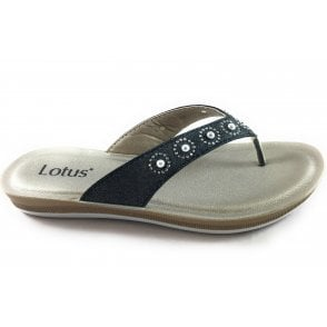 Lexi Black Toe-Post Sandal