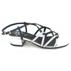 Libano Silver and Blue Glitter Strappy Sandal