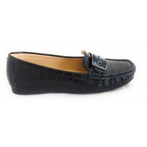 Libby Black Croc Print Loafer