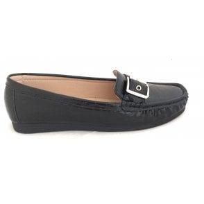 Libby Black Croc Print Loafers