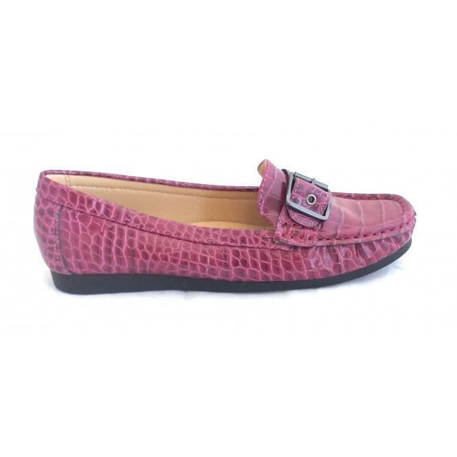 Lotus Libby Bordo Croc Print Loafer