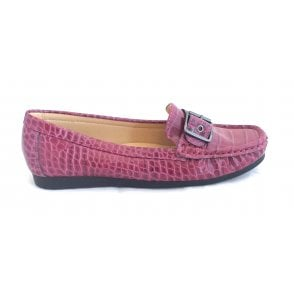 Libby Bordo Croc Print Loafer