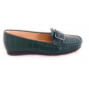 Libby Green Croc Print Loafer