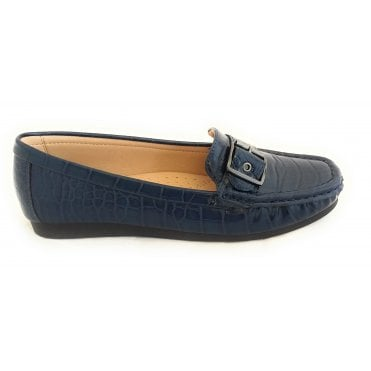 Libby Navy Croc Print Loafer