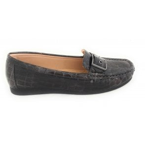 Libby Pewter Croc Print Loafers