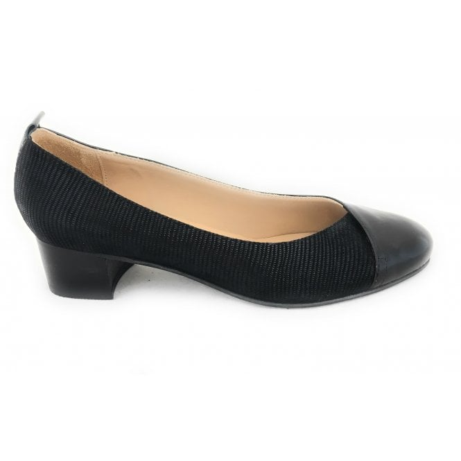 HB Liffy Black Leather and Patent Court Shoe