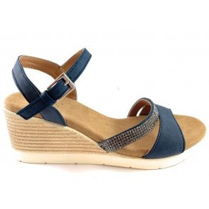 Lilou Navy Wedge Sandal