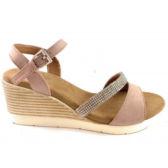 Lotus Lilou Pink Wedge Sandal