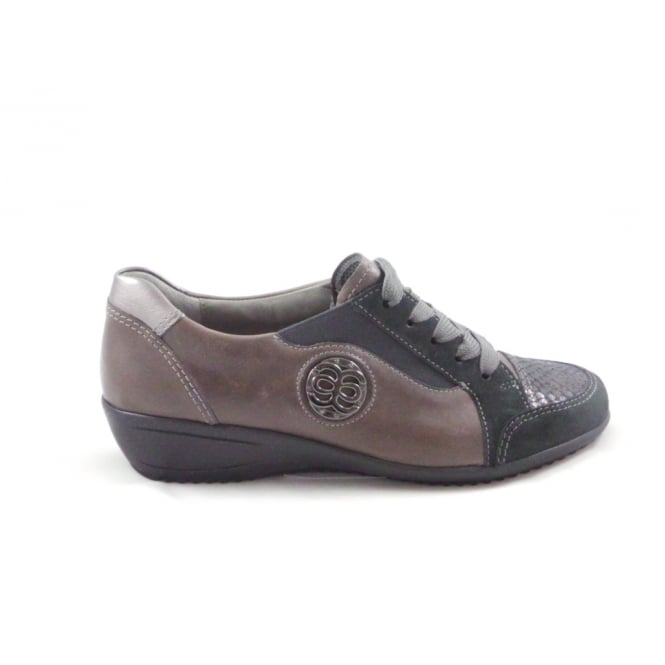 Ara Limone 12-44250 Taupe Leather and Grey Suede Lace-Up Casual Shoe