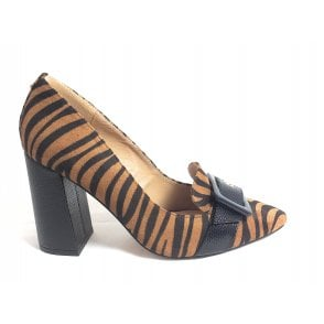 Lincoln Tan Zebra Print Block Heel Court Shoes