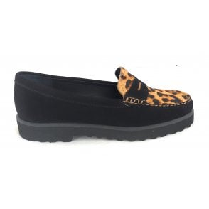 Lindley Black and Leopard Print Loafers