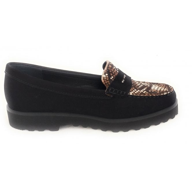 Lindley Black and Snake Print Loafers
