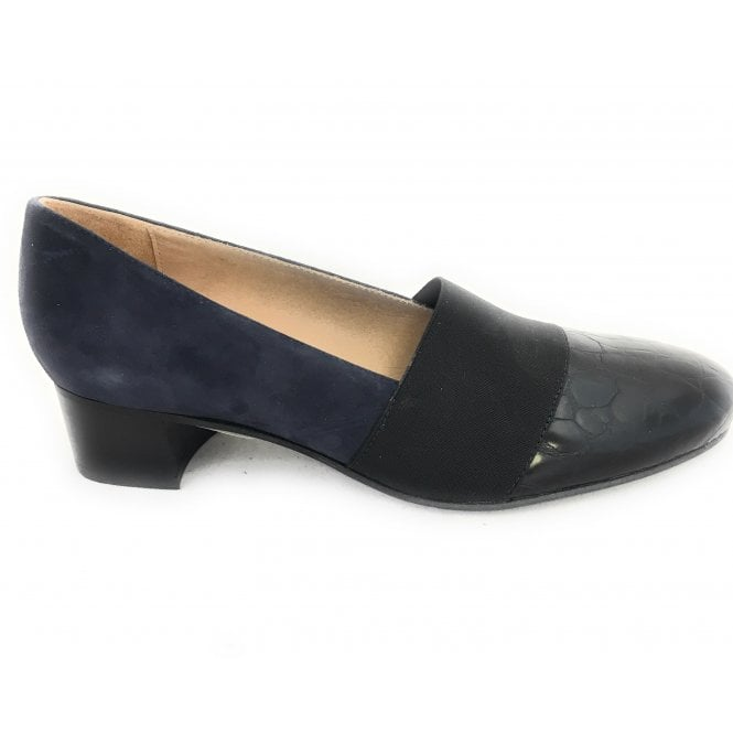 HB Lisa Navy Suede and Leather Court Shoe