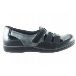 Lisboa 6517 Black and Grey Leather Casual Shoe
