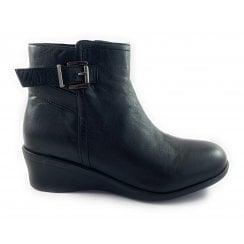 Lisetta Black Leather Wedge Ankle Boot