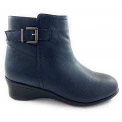 Lisetta Navy Leather Wedge Ankle Boot