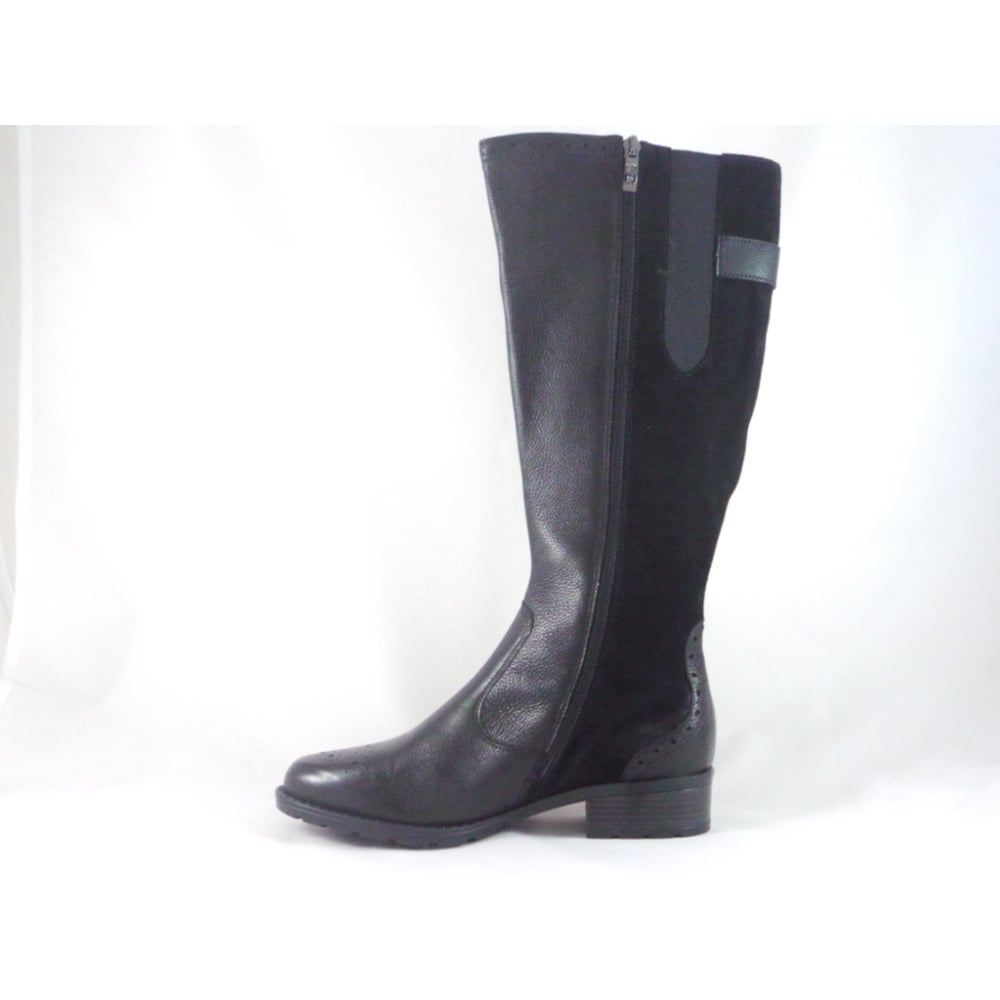 892465ab ... Ara Liverpool-St 12-49505 Black Leather and Suede Knee High Boot