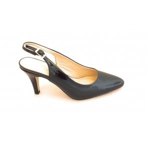 Lizzie Black Patent Sling-Back Court Shoe