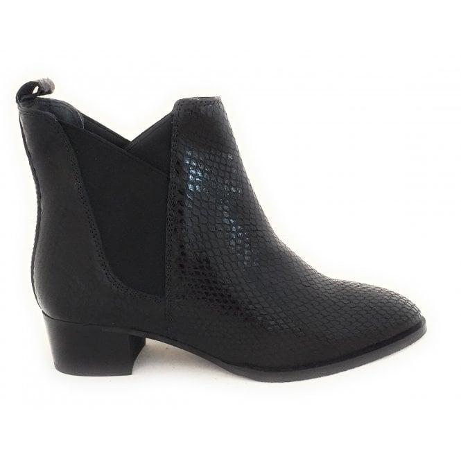 Ravel Loburn Black Snake Print Leather Ankle Boots