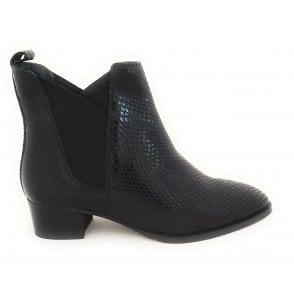 Loburn Black Snake Print Leather Ankle Boots