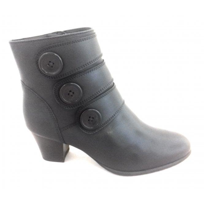 Lotus Locasta Black Leather Heeled Ankle Boot