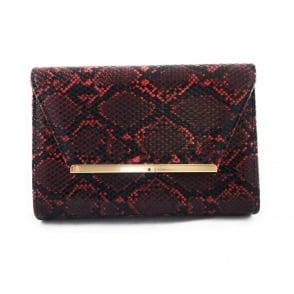 Lodis Red Snake Print Clutch Bag