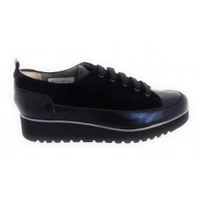 Lody Black Suede and Leather Lace-Up Wedge Shoe