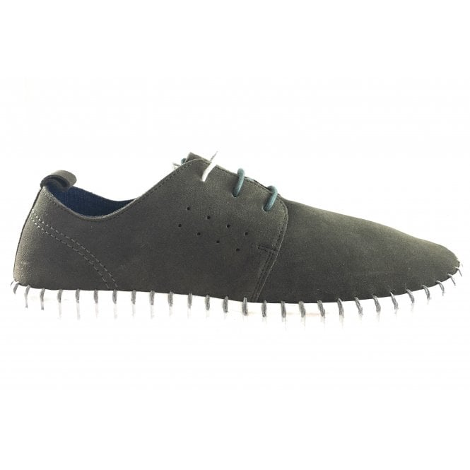 Lotus Logan Olive Green Suede Lace-Up Casual Shoe