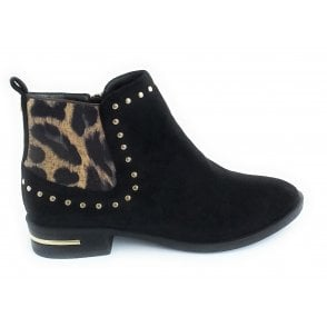 Lolita Black Microfibre Ankle Boot